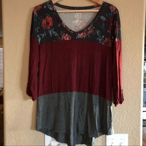 Maurices floral, maroon & gray long sleeve shirt